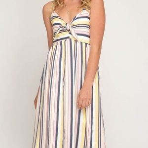 Dresses & Skirts - MULTI STRIPED WOVEN CAMI DRESS WITH FRONT TIE DETA